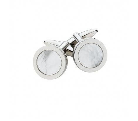 These Spartan stainless steel mother of pearl round cufflinks feature a mother of pearl circle in the middle of the design surrounded by a smooth polished finish.