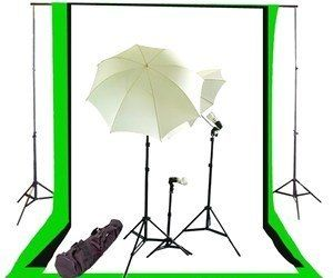 Whether you're interested in setting up a photography studio in your home or just want to make high-quality amateur porn, you'll want to check out this studio lighting kit. It comes with various stands, umbrellas, lights, and black, white, and chromakey green muslin backdrops. If you want to be a professional podcaster or YouTube superstar, you need this.