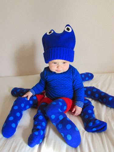 DIY Baby Octopus Halloween Costume, easy to make for a baby girl or baby boy, and easy sewing