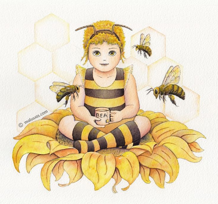 I am Bea / I drink tea / Won't you dance around / With me?...  (From Friends series)   Bea drinking tea as a bee - Inktense pencils on watercolor paper.  #illo52weeks