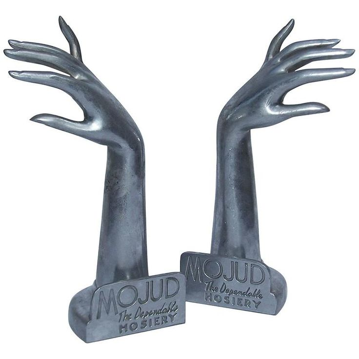 Stylized 1930's Art Deco Mojud Hosiery Metal Store Display Hands | From a collection of rare vintage sculptures at https://www.1stdibs.com/fashion/ephemera/sculptures/