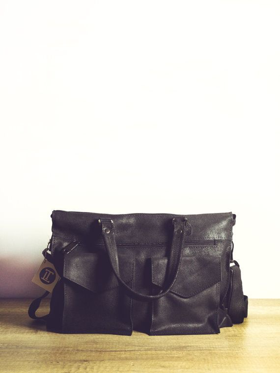Black Messenger bag for men. Black natural by TropaeisLeather $129