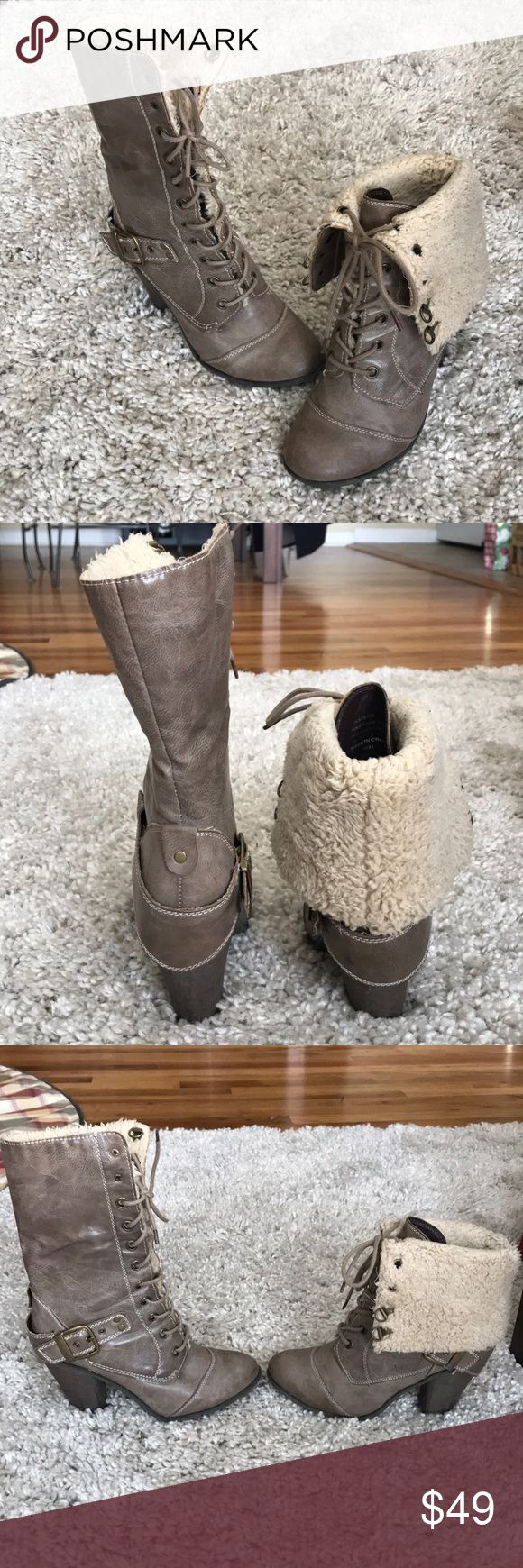 Nine West fur boots! Size 7. Faux fur throughout the inside so they are warm! 4 inch heel. In excellent condition! Nine West Shoes