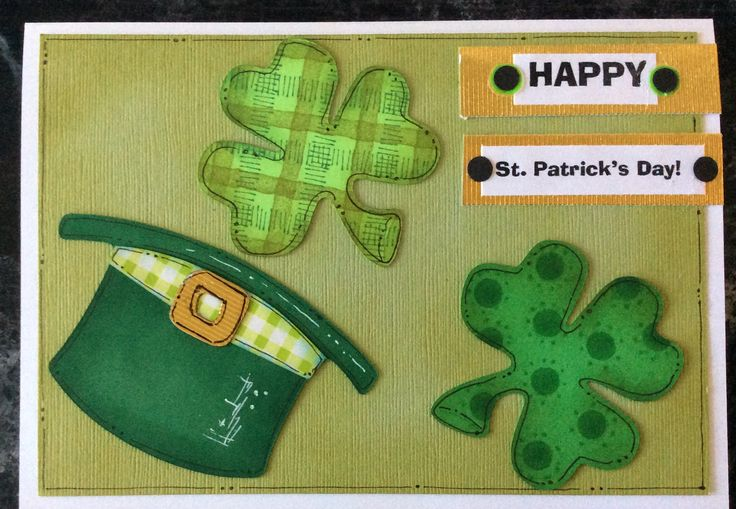 Entered in simonsaysstampblog.com Wednesday A Bit of Green Challenge. Cut designs using Cricut, Used stamps to add designs to the shamrocks. Used Distress inks, Pitt Pens and white gel pen. I didn't have a St. Pats saying,so printed one on computer, layered on gold paper.