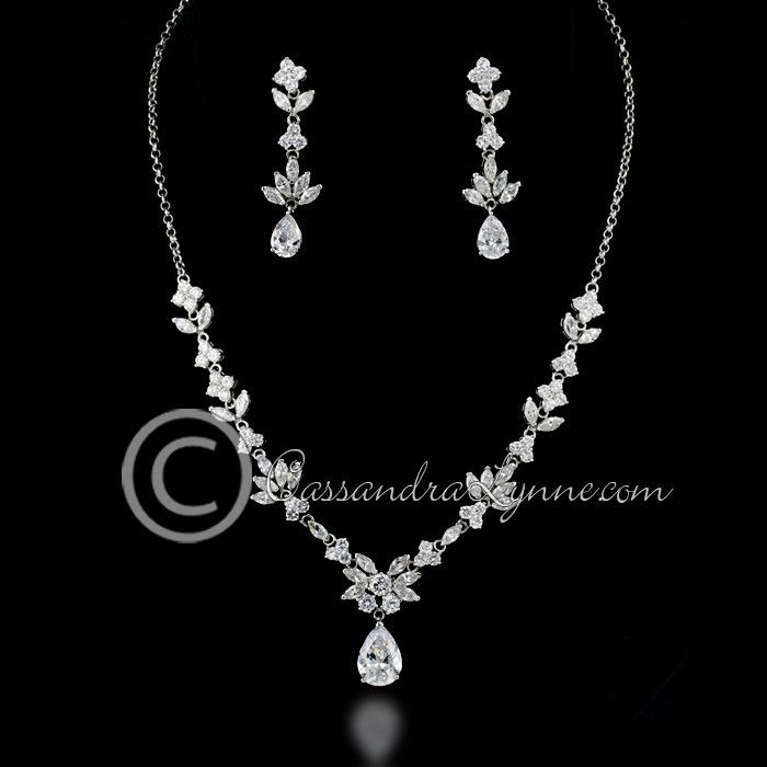 Teardrop CZ necklaces set.