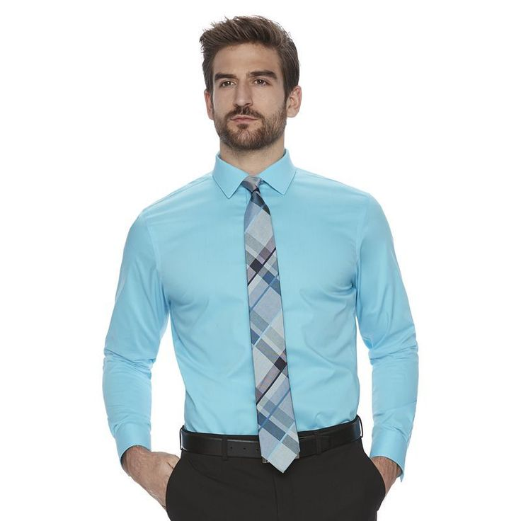 Men's Marc Anthony Slim-Fit Non-Iron Dress Shirt, Size: 15.5-32/33, Turquoise/Blue (Turq/Aqua)