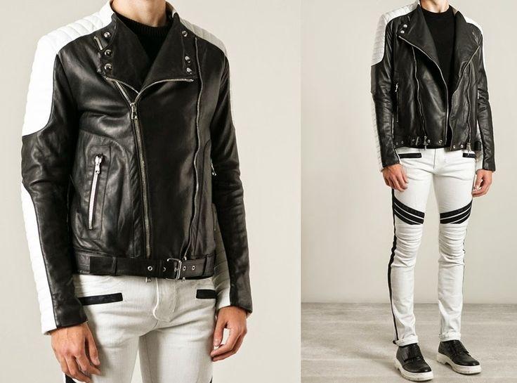 BALMAIN Men's Black & White Leather Biker Jacket | Online Shop -  SPENTMYDOLLARS | Fashion Trends