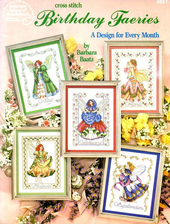 Birthday Fairies Monthly Gemstone Colors Winged Angels Decorative Borders Counted Cross Stitch Embroidery Craft Pattern Leaflet 3651