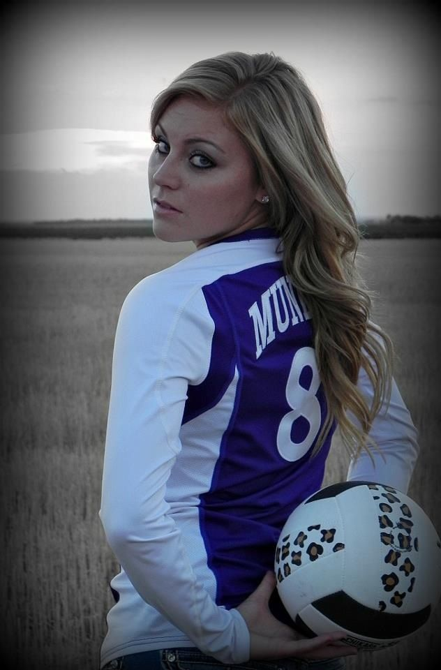 Use Rugby ball - Volleyball senior picture...I would do this with a softball and glove for a softball senior pic...