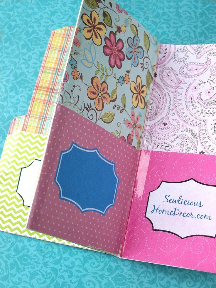 Pocket Folder Organizer tutorial made with manila folders and scrapbook paper at sewlicioushomedecor.com. Perfect for organizing your coupons/receipts/bills etc.