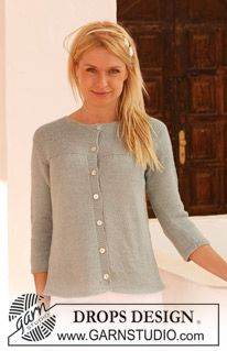"DROPS jacket with 3/4 sleeves in ""Alpaca"". Size S - XXXL. ~ DROPS Design free pattern"
