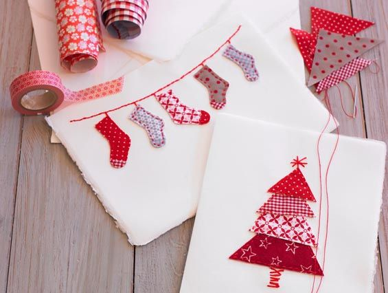 sweet christmas cards with fabric
