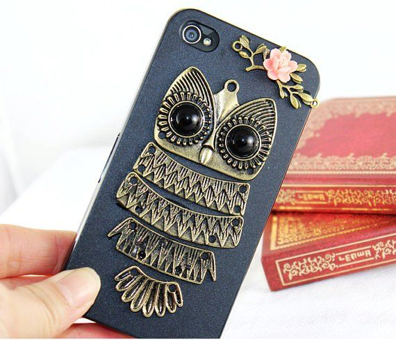 Antique Brass Cute Owl iPhone 4 Cases for Girls