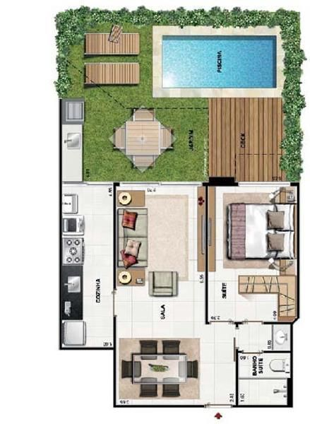 17 melhores ideias sobre casas com piscina no pinterest for Plantas de casa adentro