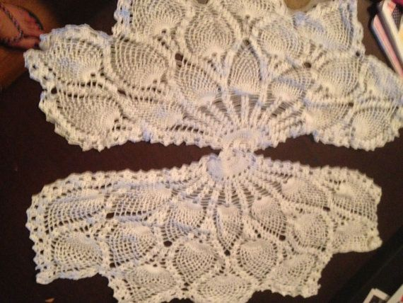 2 Vintage White Crocheted Furniture Doily 18 Inch Length
