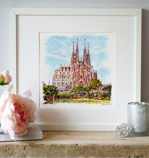 Sagrada Familia Watercolor painting Wall art City by Artsyndrome