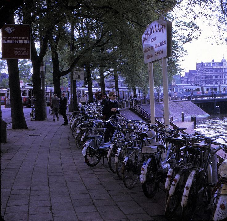 Netherlands   -   Amsterdam  -    Phyllis Robinson (amongst the bicycles)  -  May 1970 | par Ladycliff