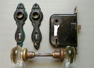 Antique-2-034-Clear-Glass-Round-Door-Knobs-1-Set-Back-Plates-Mortise-Lock-1900-039-s