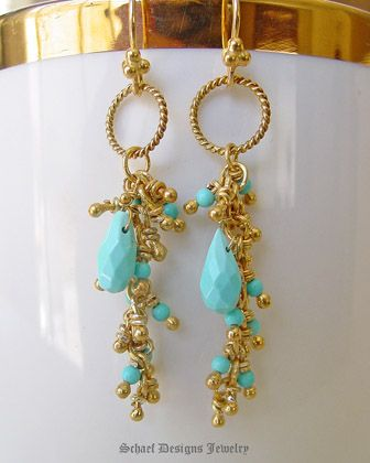 Sleeping Beauty turquoise & 22kt gold vermeil Long Dangle Earrings | Schaef Designs artisan handcrafted gemstone & pearl earrings | online upscale jewelry boutique | San Diego, CA