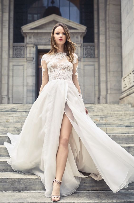 Featured Wedding Dress: Bliss collection by Monique Lhuillier; Wedding dress idea.