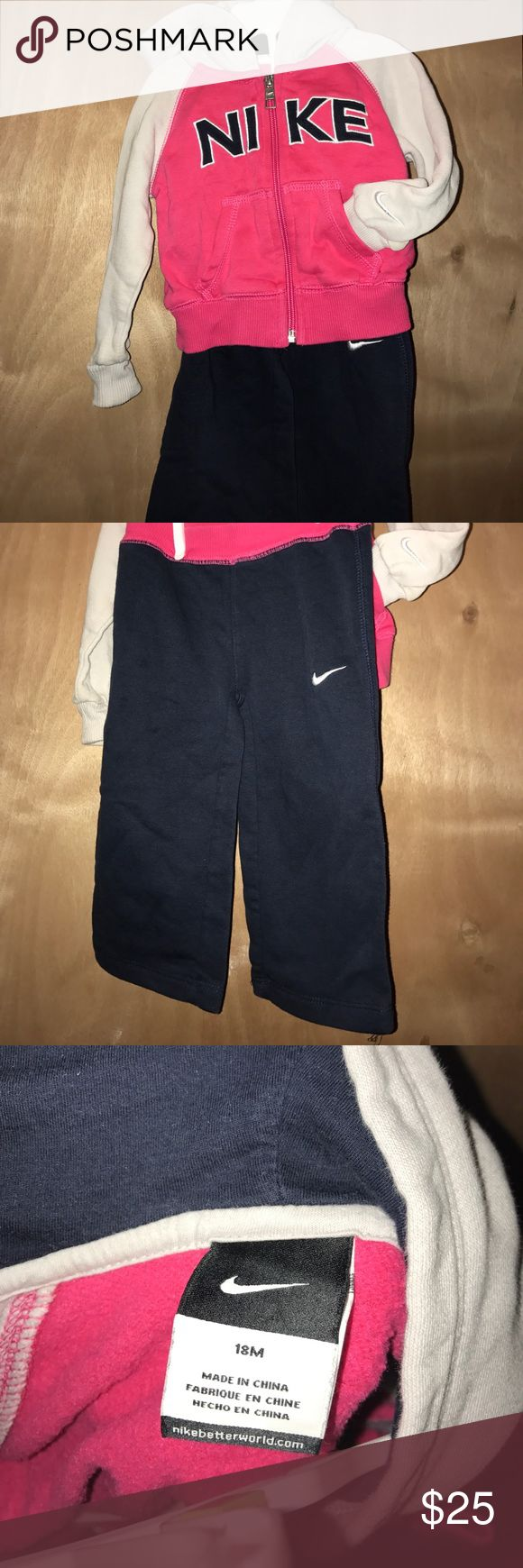 Toddler baby Nike sweat suit  18 mos. Adorable little Nike sweat suit for a toddler or baby.  Size is 18 month. The jacket and sweat pants are made up of 76% cotton and 24% polyester.  The hood is 100% cotton. Nike Matching Sets