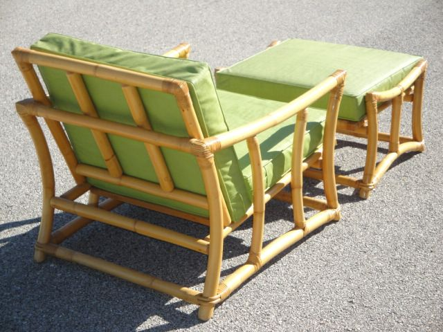 1960s Mid Century Frankl Style Ficks Reed Rattan Chair U0026 Ottoman | Rattan,  Ottomans And 1960s