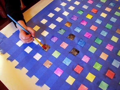 Put large piece of paper on tables. Tape and let children paint. Great for entire class project!