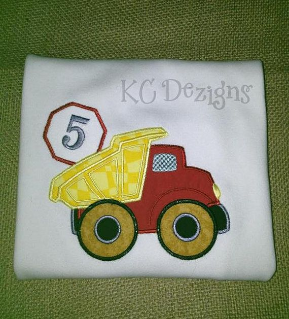 Construction Truck No 5 Machine Embroidery Applique by KCDezigns, $3.50