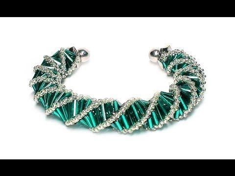 Tutorial: beads style №3 for pandora bracelet / Спиральный жгут из бисера и стекляруса - YouTube