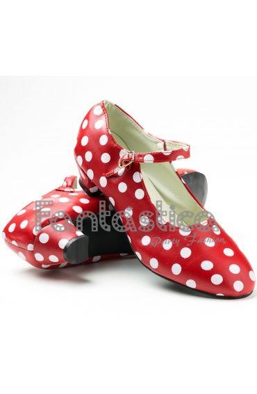 Zapatos para Flamenco Color Rojo y Lunares Blancos - Tallas para Niña y Mujer