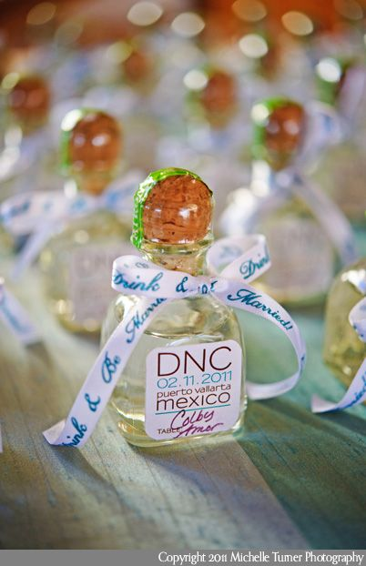 Tequila wedding favors for a destination wedding in Mexico.