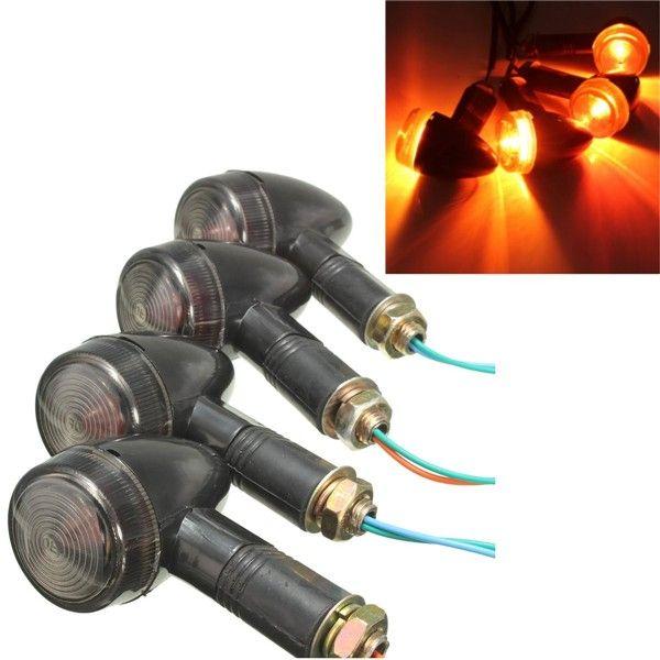 4pcs 12v indicadores de señal de giro de bala motocicleta luz de la lámpara ámbar humo