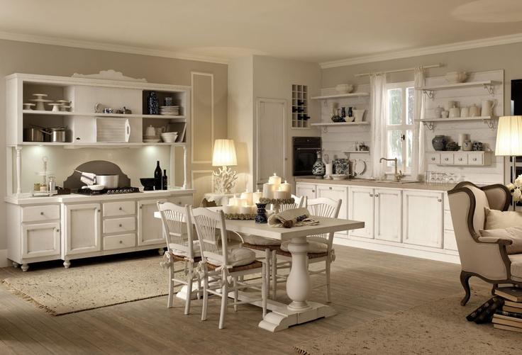 Cucine Zappalorto.  Solaia bianco modernariato, con effetto muro bianco frattonato e piano in ceramica Epoque tortora.