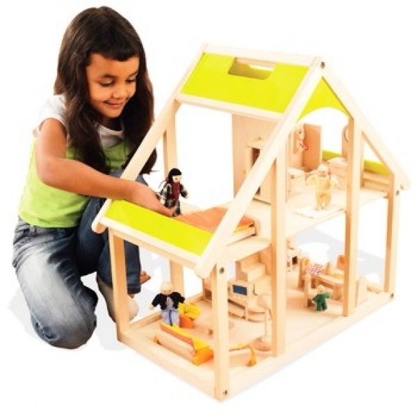 This charming dollhouse comes complete with a family of 4 dolls and 20 pieces of all-wood furniture. The Welcome Home Dreamhouse encourages hours of imaginative play.  The dollhouse's four rooms are furnished with durable, hand-painted furniture including a living room set, kitchen set, bedroom set and bathroom set. Hape toys meet all international standards for safety.