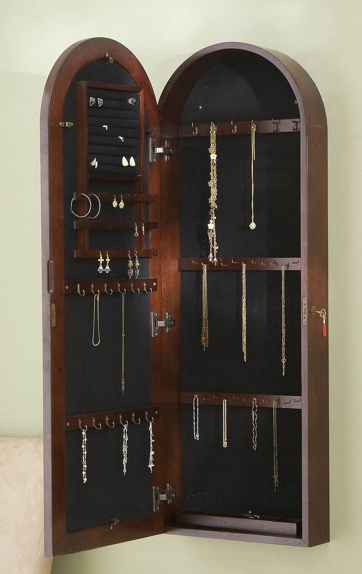 Holly And Martin Madelyn Wall Mount Jewelry Armoire In Dark Cherry