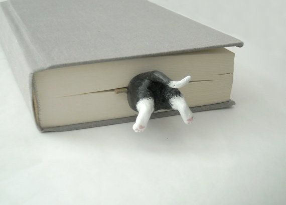 Your Cat in the Book, Cat Bookmark, on Etsy, $25.00