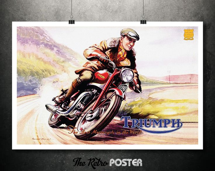 1948 Triumph Speed Twin - The Best Motorcycle In The World by Roland Davies // High Quality Fine Art Reproduction Giclée Print by TheRetroPoster on Etsy