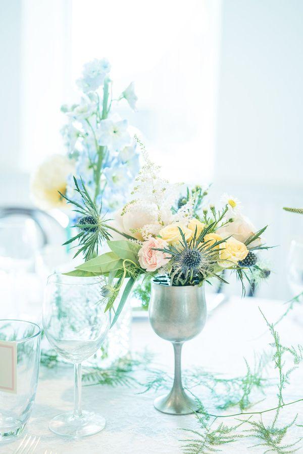 wilflower centerpiece in silver - photo by Injoy Imagery http://ruffledblog.com/english-garden-rehearsal-dinner