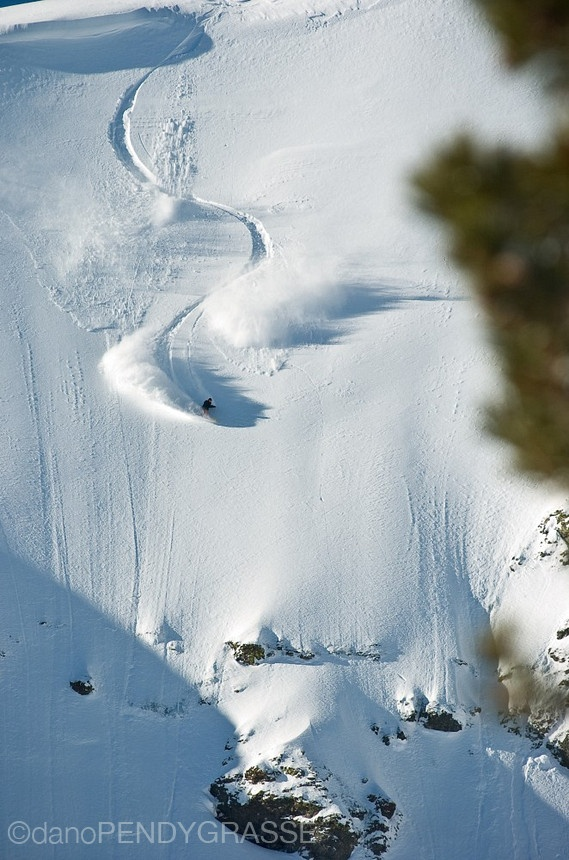 Dave Downing riding a steep face in Tahoe.