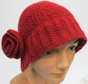 Red Winter Hat With Flower