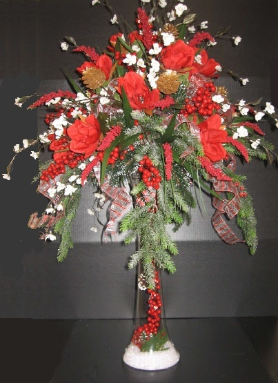 A c moore holiday tall centerpiece floral