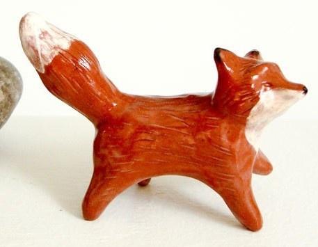 Miniature Fox Sculpture Handmade Pottery Clay Figurine by Iktomi etsy.com