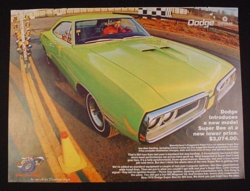 Magazine Ad For Dodge Super Bee Car, 1970, Lime Green, Drag Strip