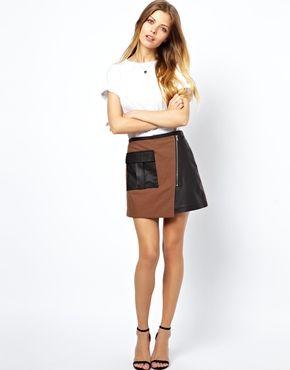 ASOS Leather Utility Wrap Skirt