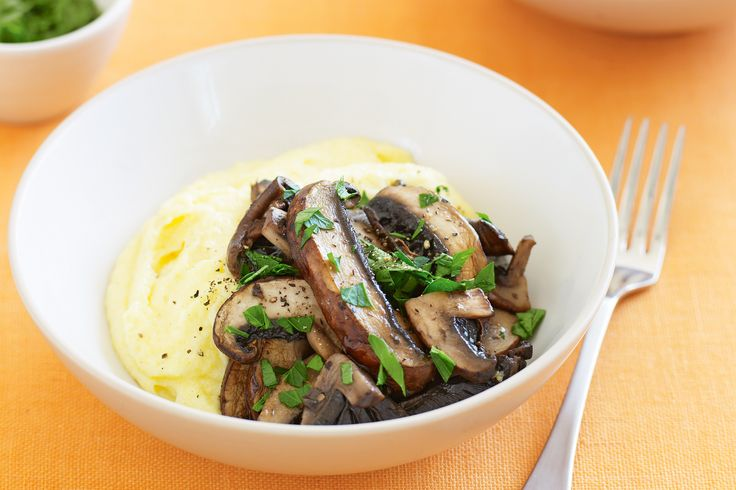 Mushrooms w/ Creamy Polenta