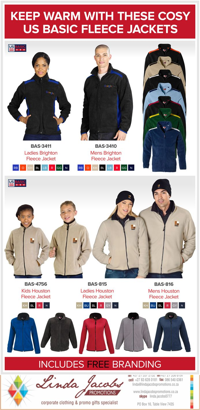 Our cosy US Basic Fleece Jackets will ensure that you don't get left out in the cold. Offering both comfort and style at great prices, these are sure to keep you warm this winter. http://buff.ly/29OREKv  linda@lindajacobspromotions.co.za 083 6280181 021 5572152