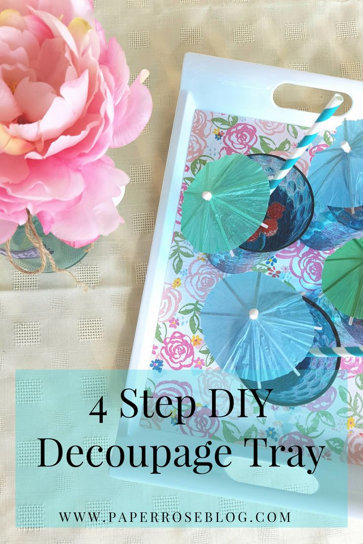 Quick & Easy 4 STEP DIY DECOUPAGE SUMMER TRAY using craft paper, Mod Podge, a brush and old thrift store tray.