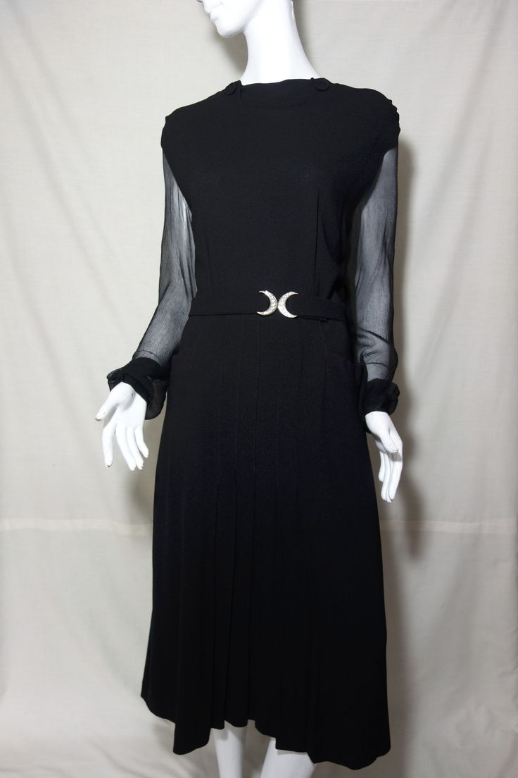black, sexy chiffon crepe 40s 'high tea' blithe spirit dress