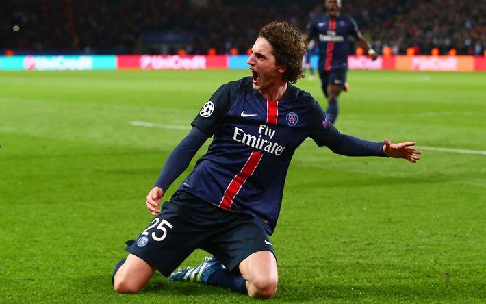 Download wallpapers Adrien Rabiot, 4k, PSG, footballers, soccer, Ligue 1, Paris Saint-Germain, Liga 1