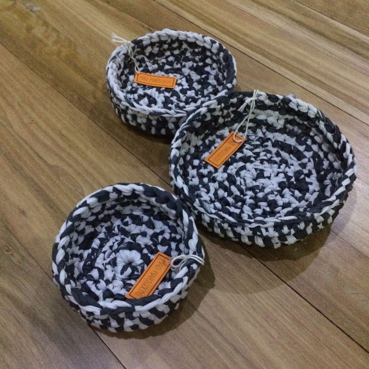 These bowls are crocheted from heavy T-shirt yarn and are perfect for storing all kinds of knick knacks. Perfect to organise or as a decorative piece for your coffee table or kitchen bench.Three sizes available, as pictured, which also stack perfectly inside each other.Listing price is per bowl.